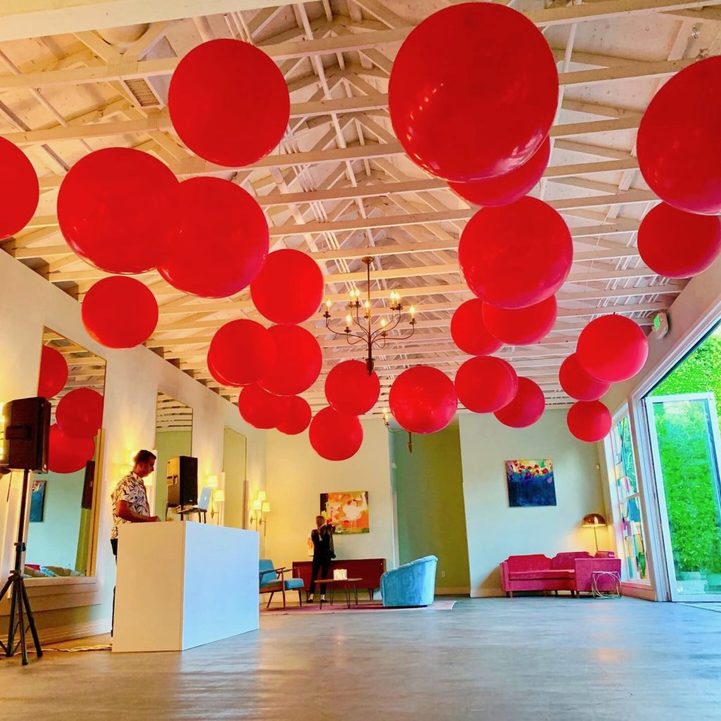 ceiling balloons by The BalloonGuyLA.com